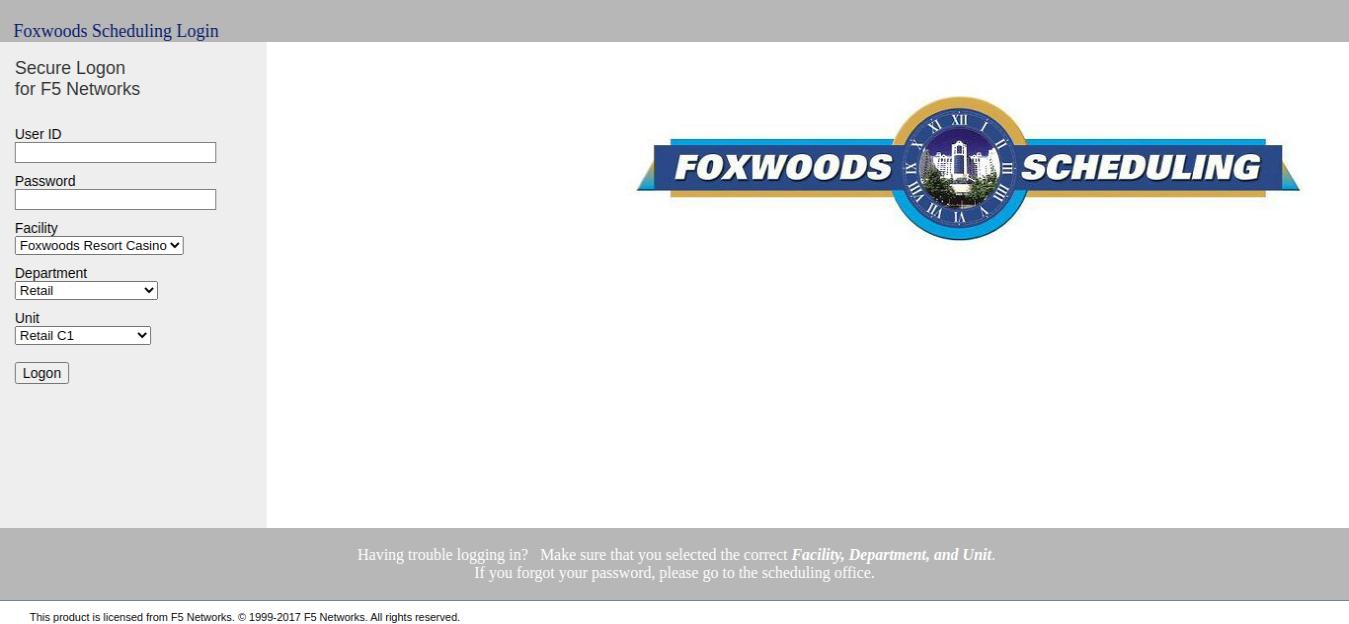 scheduling foxwoods login