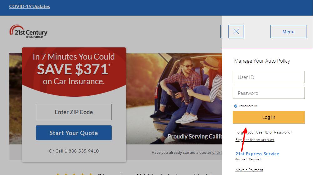 21st century insurance login