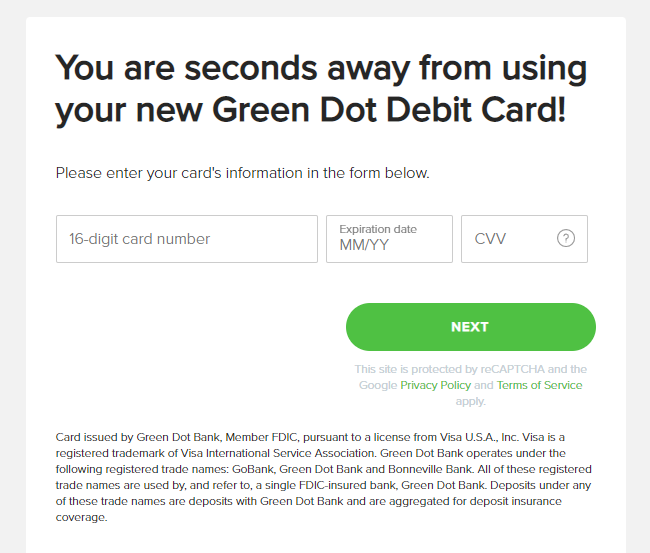 Green Dot activate