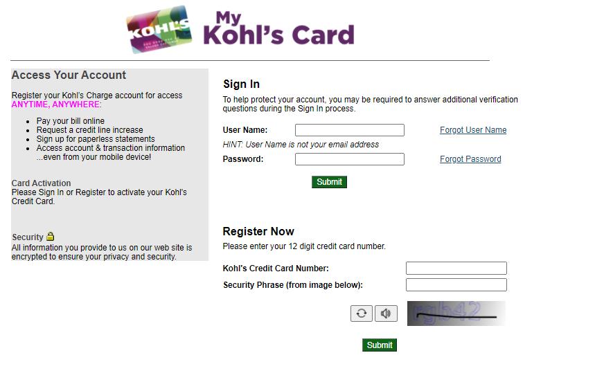 kohls card activate logo