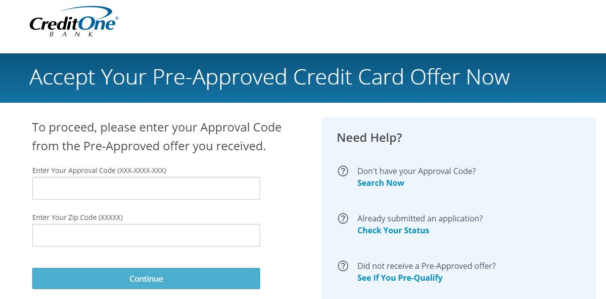 credit one bank credit card application