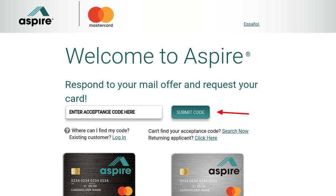 aspire credit card application
