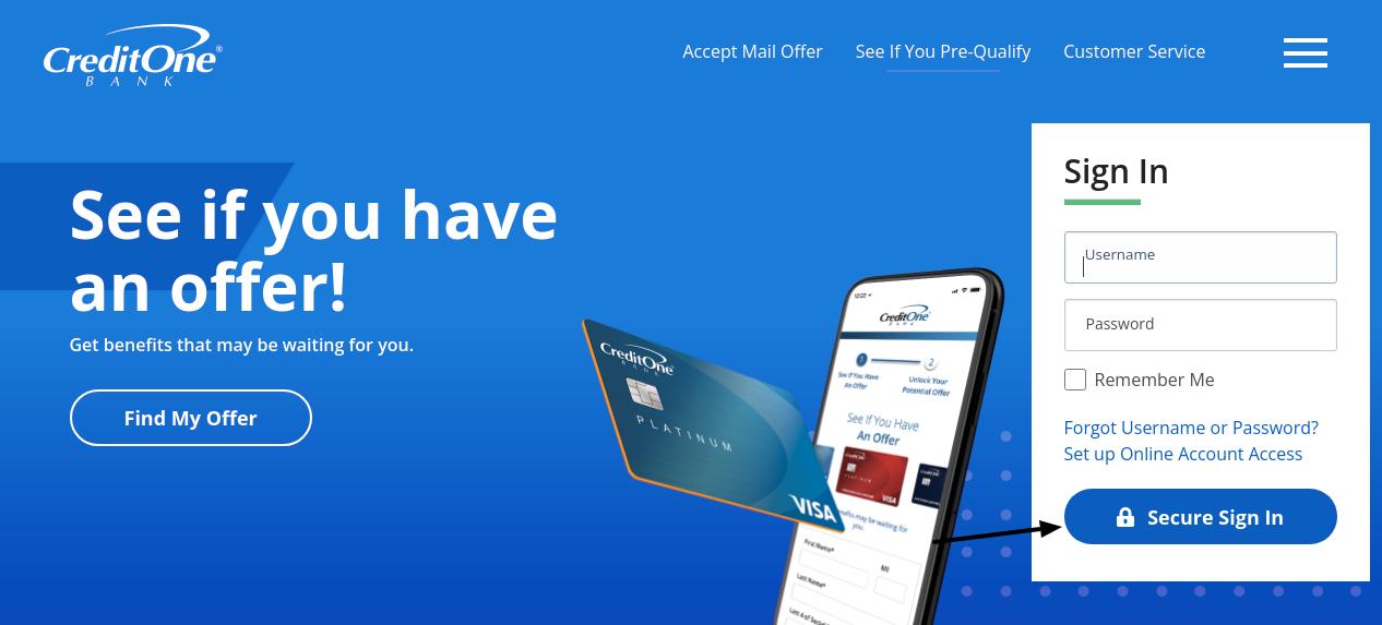 credit one bank credit card login